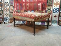Handmade Kilim upholstered coffee table footstool ottoman Made in the UK on genuine antique legs