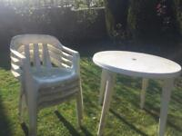Plastic table and four chairs collection only Wigston