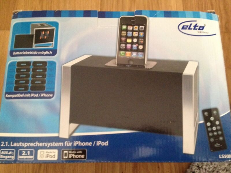 2 1 lautsprechersystem f r iphone ipod lautsprecher in. Black Bedroom Furniture Sets. Home Design Ideas