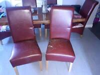 4 dinning chairs red leather