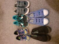 Selection of trainers. gym shoes, canvas shoes and wellies - various sizes
