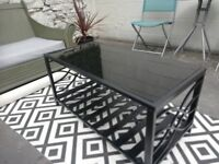 Black Glass Coffee Table with Metal Design