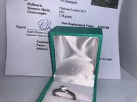 Value £1825 Diamond, platinum ring with Appraisal for sale! Size K