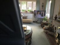 """Fitted carpet clean no worn areas in plus curtains 24-'- 9""""x 12'-10"""" £100"""