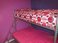 metal frame BUNK BED with PINK FUTON DOUBLE **excellent condition**