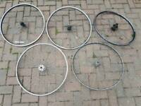 5 road bike wheels, 27 x 1 1/4 and 700cc