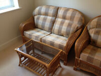 Cane Conservatory Furniture 2-Seater 1-Chair & Coffee Table
