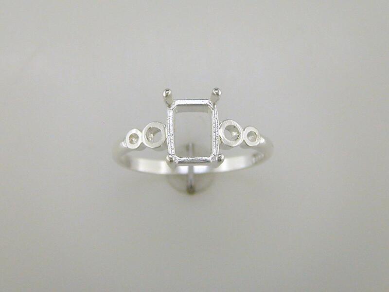 Emerald Cut Loop Shank Ring Setting Sterling Silver