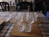 Selection of old Cut Glass, 6 Sundae Dishes, 2 Brandy Goblets and 2 Whisky Tumblers