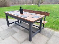 Rustic refectory farmhouse Kitchen GREY Dining Table + bench shabby chic POSSIBLE LOCAL DELIVERY