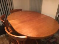 Extendable Solid Wood Table & 3 Chairs for sale