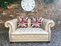 Cream Chesterfield sofa. Armchair available. Can deliver