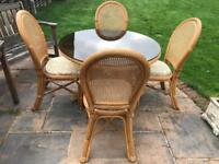 Conservatory wicker Glass Table & 4 Chairs.