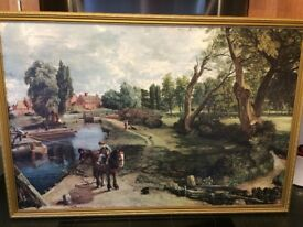 A PRINT OF JOHN CONSTABLE'S PAINTING 'FLATFORD MILL ON BOARD.
