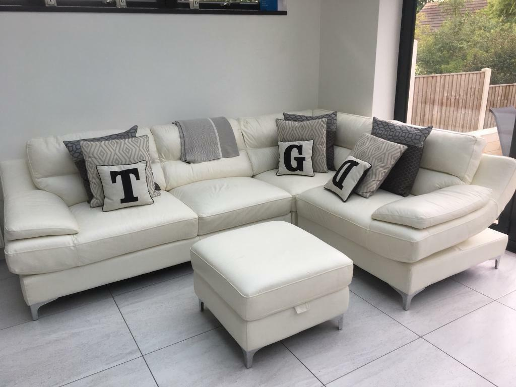 Sofaworks Cream Leather Corner Sofa And Footstool Cost 1800