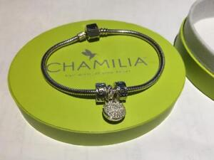 CHAMILIA .925 SILVER BRACELET WITH TWO CLIPS AND DOVE PEACE PENDANT IN BOX