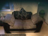 Fabric /leather grey 2 seater sofa