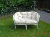 Two Seater Cane / Bamboo Conservatory Chair with Cushions finished in grey chalk paint. Can Deliver.