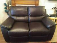 2 SEATER BROWN LEATHER RECLINER SOFA 1YEAR OLD