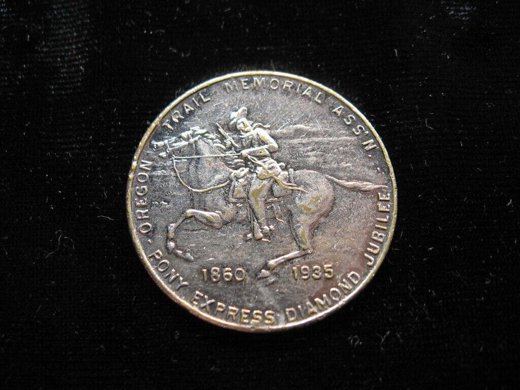 Old Medal Pony Express Diamond Jubilee 1935 Whitehead Hoag Cowboy Horse 394  - $0.99