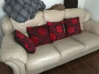 LEATHER SOFA AND ARMCHAIR - £100 COLLECTION ONLY