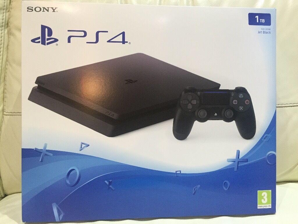 PlayStation 4 Slim Jet Black 1 TB - Brand New