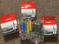3 Canon Black Ink Cartridges & Compatible Colour Asstd for Canon MP 610 and Pixma Series Printers