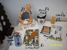 CAT THEMED ITEMS,MIRROR,ALARM CLOCK,SPOON,PADS,CANDLE, ETC