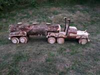 Garden American Log Truck / HGV and Trailer Ornmanent