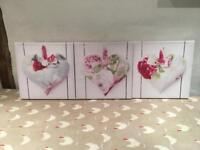 3 x Canvas Heart Prints