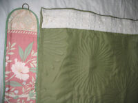 Padded olive green door curtain, tie back, track & hooks