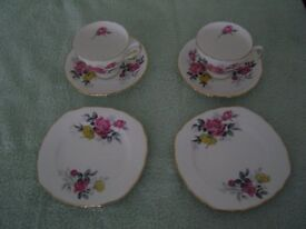 Vintage Pair of Royal Vale Pink & Yellow Rose Bone China Cup ,Saucer and Cake Plate