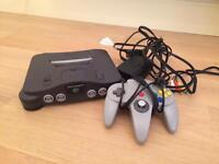 Nintendo 64 console with official controller and original cables N64