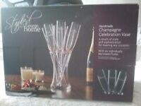 Champagne Celebration Vase & Flute set. BNIB. Wedding Gift