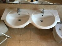 Double Ceramic Basin Wall Hung