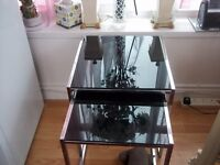 2 black glass tables stack together good size
