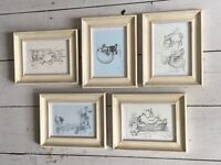 Set of 13 vintage Winnie The Pooh prints in distressed white wooden frames