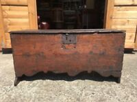 Antique Oak Chest Circa 1600 Oak Six Plank Chest With Moulded Apron Blanket Box Trunk Rare