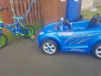 Kids bike and electic car
