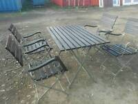 Rustic shabby chic style garden patio table and 4 chairs bistro garden set foldable