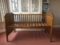 John Lewis Antique Pine Cot-bed. Lovely condition. Suitable for 0-5 years.