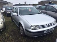 2002 1.6 Petrol Volkswagen Golf, Breaking for parts only. Posatge Nationwide