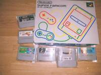 Boxed Japanese Super Famicom aka Super Nintendo Snes bundle also have sega stuff