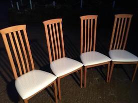 New Cond! Slat back Light wood CHAIRS X 4 / cream seats dining / kitchen