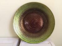 Green and bronze Lustre dish /plate