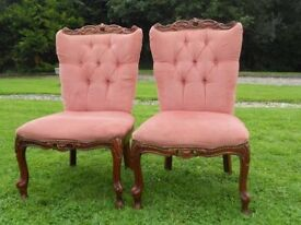 2 Pink Buttonback Bedroom Chairs