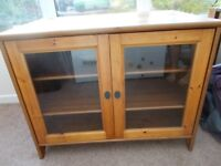 Lockable, glass fronted cabinet