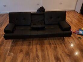 £80 (Neg.) Sofa bed Black Faux Leather