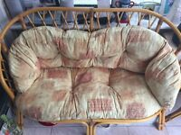 Great condition conservatory furniture comprising 2 seater sofa 2 chairs and side table