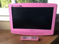 """Bush 19"""" hd lcd pink tv with built in freeview"""